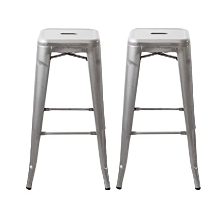 Swell Buschman Set Of 2 Galvanized 30 Inch Bar Height Metal Bar Stools Indoor Outdoor Stackable Ibusinesslaw Wood Chair Design Ideas Ibusinesslaworg