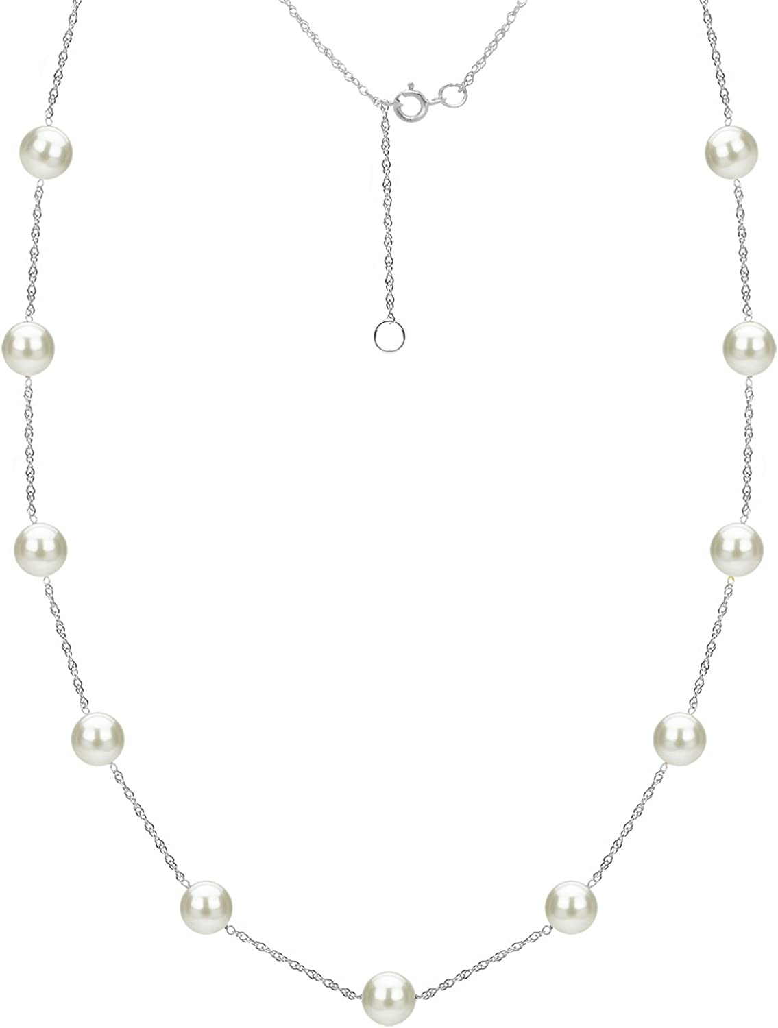 B01KXZ3BSY Tin Cup Station Chain Layered Necklace Cultured Freshwater White Pearl Jewelry for Women 18 inch in (Choice Pearl Sizes and Metal Type) 61EpjyLwfsL