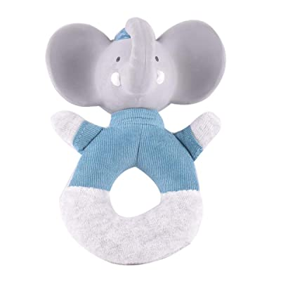 Tikiri Alvin The Elephant Soft Rattle with Rubber Head (Blue): Toys & Games