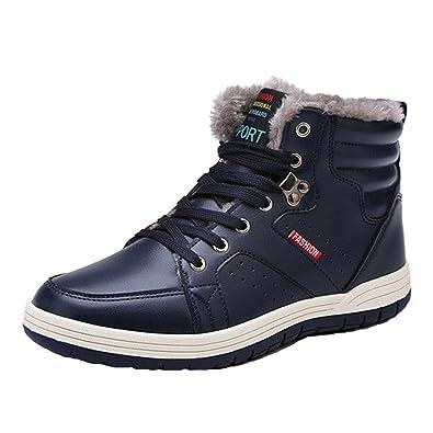 Hibote Herren Sportschuhe Schnüren Winter Sneakers Freizeitschuhe Männer  Warm Gefütterte Winterschuhe Laufschuhe Turnschuhe Knöchel Warm Schuhe 666087f9ce