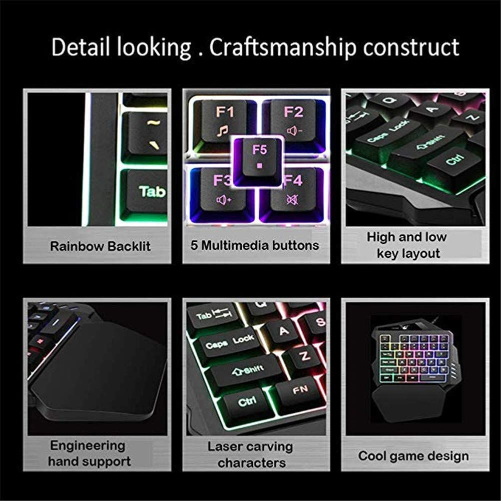 Wired 35 Keys LED Backlit USB Ergonomic Single Hand Keypad Gaming Keyboard One-Handed Gaming Keyboard