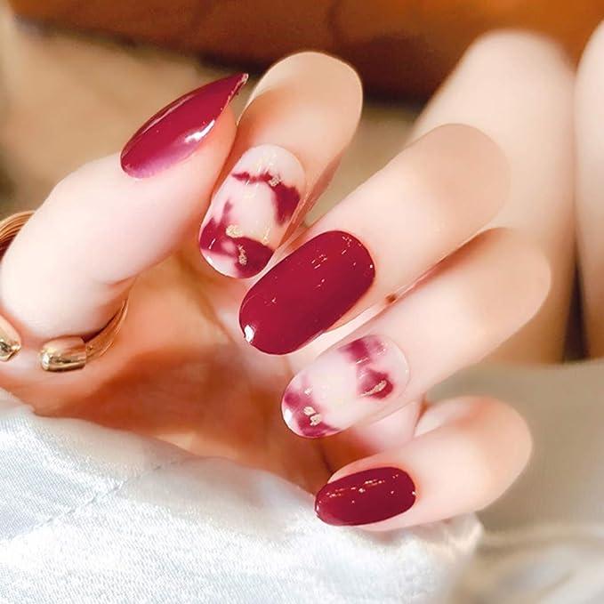 Brishow - Juego de 24 uñas postizas, color rojo, corto, con forma ...