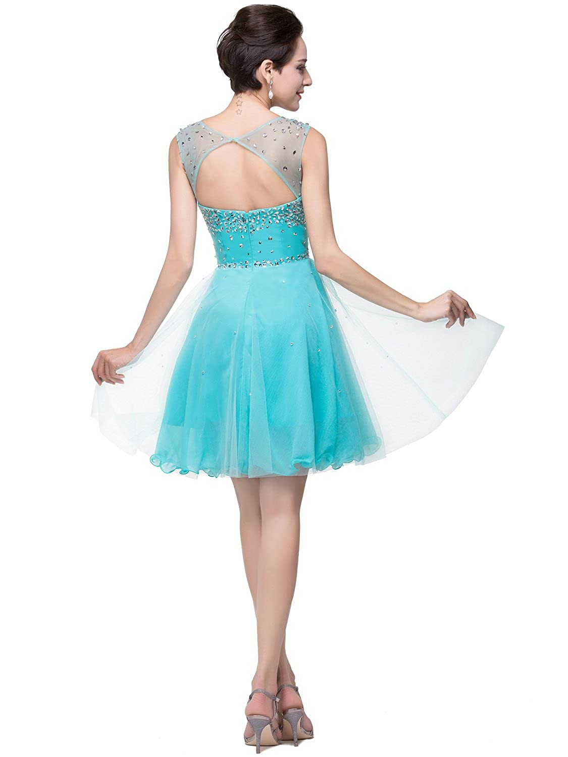 Amazon.com: MisShow Sparkly A Line Scoop Short Prom Party Homecoming ...
