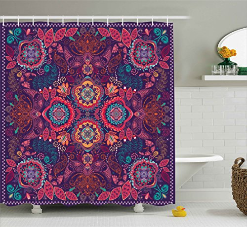 Ambesonne Paisley Shower Curtain, Modern Classic Ethnic Asian Design with Dots Leaves and Flowers Artistic Print, Fabric Bathroom Decor Set with Hooks, 75 Inches Long, Multicolor