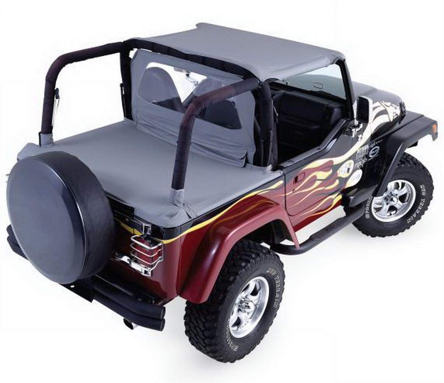 RAMPAGE PRODUCTS 993015 Cab Top for Soft Top Half Door Vehicles Only Black Denim Fits 1992-1995 Jeep Wrangler