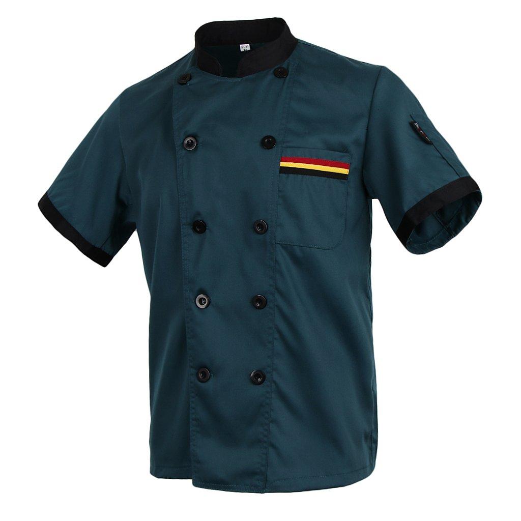 MagiDeal Abrigo Chef Ejecutivo Cocina Pecho Doble Mezclilla ...