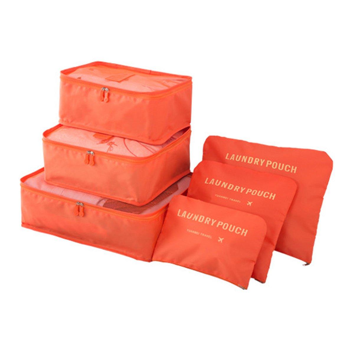 3 Pochettes Vin Rouge Organisateurs de Voyage Imperm/éables EASEHOME 6 Pcs Organisateur Valise Sacs de Rangement Nylon Organiseurs de Bagage pour des V/êtements Cosm/étiques Chaussures 3 Cubes