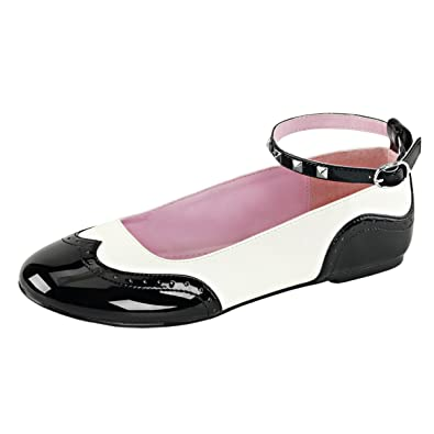 75ce96a5363 Summitfashions Womens Black and White Flats Ankle Strap Shoes Ballet Saddle  Shoes Round Toe Size