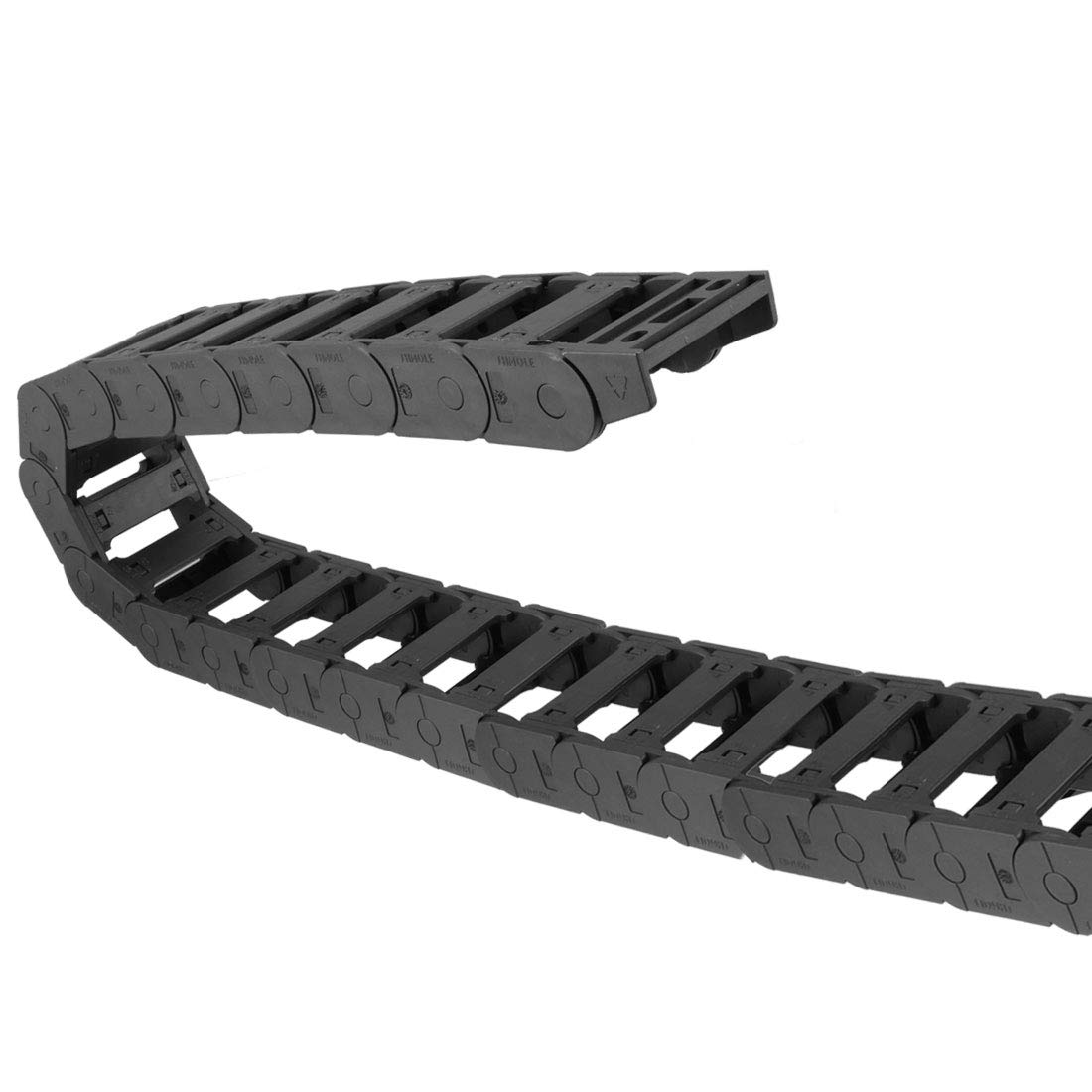 uxcell Drag Chain Cable Carrier Open Type with End Connectors R55 30X77mm 1 Meter Plastic for Electrical CNC Router Machines Black