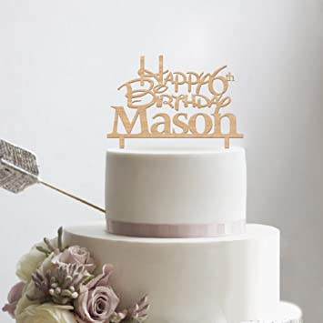 KISKISTONITE Wooden Happy Birthday Cake Toppers 6th Anniversary For Boys Girls Name Customized