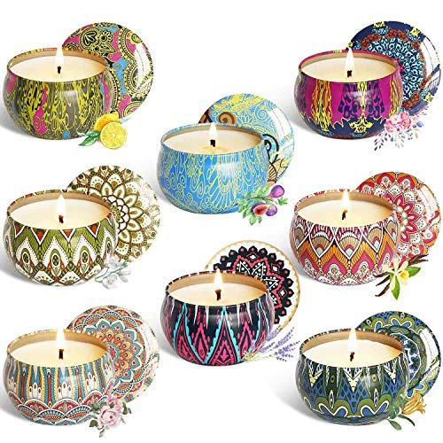 - YCYH Scented Candles Gift Sets, Natural Soy Wax 2.5 Oz Unit Portable Travel Tin Perfect for Women Aromatherapy Anniversary - 8 Pack