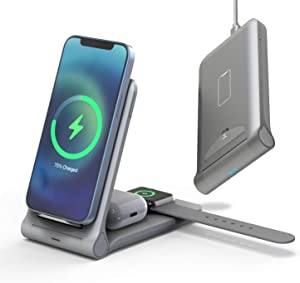 Wireless Charger-3 in 1 Qi-Certified Fast Charging Station Compatible Apple Watch Series 6/5/4/3/2 Airpods Pro iPhone 12/12pro/11/11pro/X/XS/XR/XS Max/8/8 Plus/with(20WQC 3.0Adapter)(Grey)