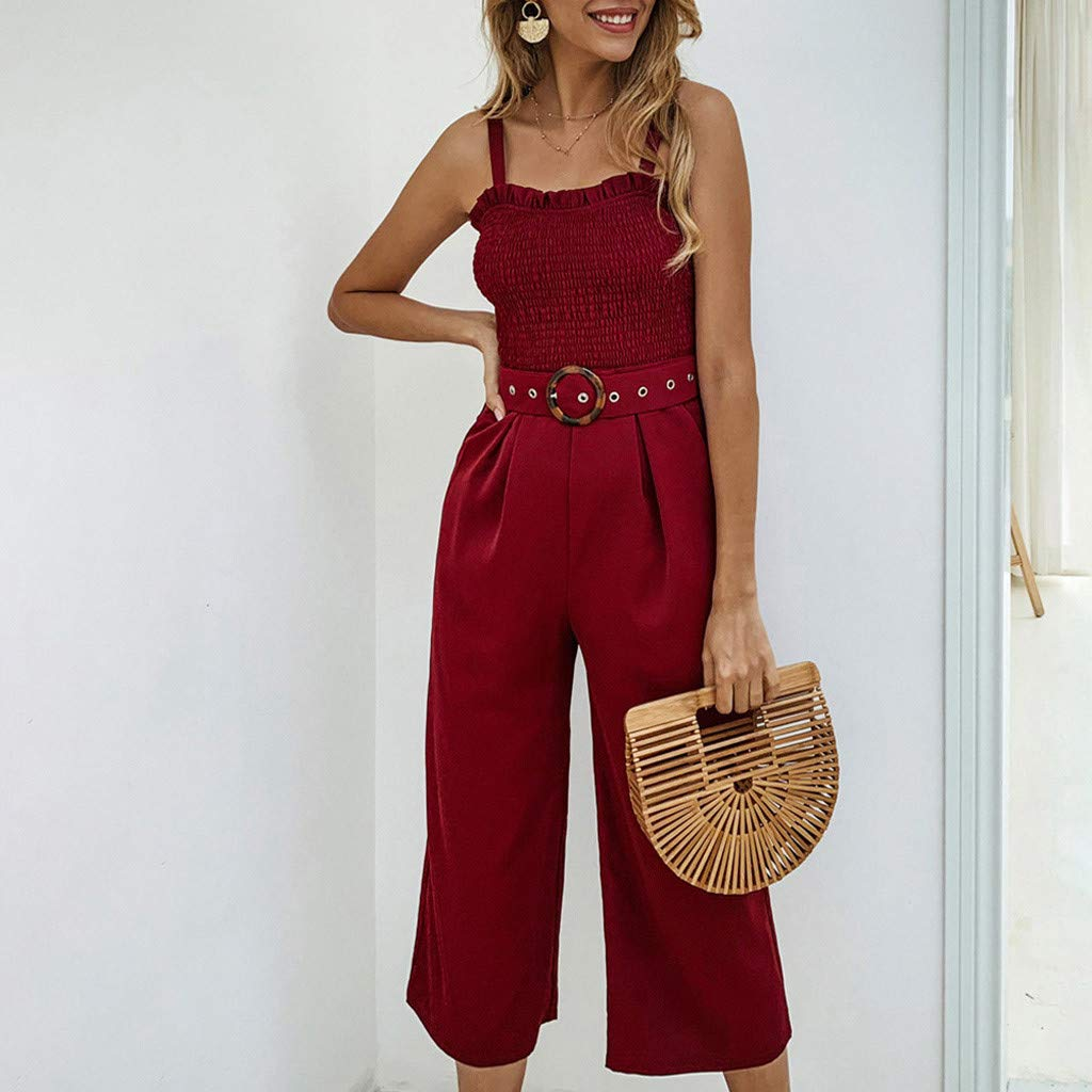 Koolee Women Jumpsuit,Women Summer Pockets O Neck Sleeveless Rompers Jumpsuit Playsuit with Sashes