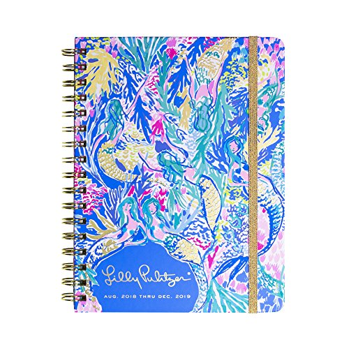 Lilly Pulitzer Large 17 Month Monthly Hardcover Planner, Weekly Layout, 2018-2019 (Mermaid Cove) -