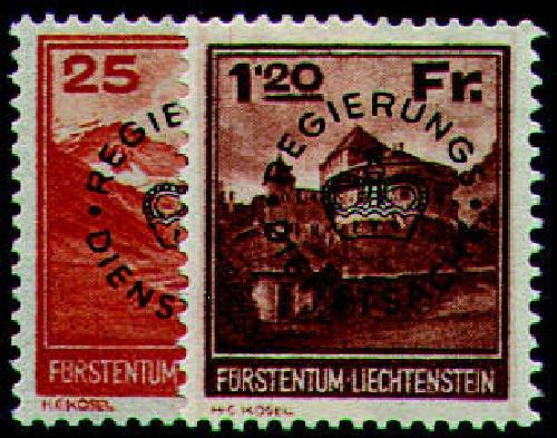 Goldhahn Liechtenstein Nr. D 9-10 Dienstmarken postfrisch  Briefmarken für Sammler