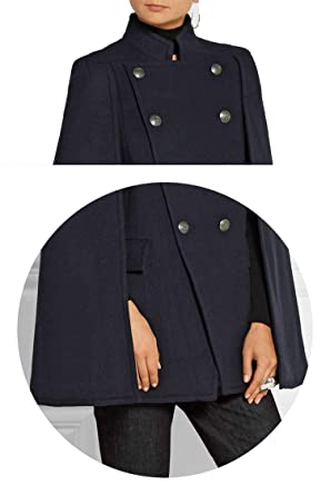 Amazon.com: Fall/Winter Newest Designer Women Oversized Wool Poncho Navy Cape Coat Cloak Manteau Femme Abrigos Mujer: Clothing