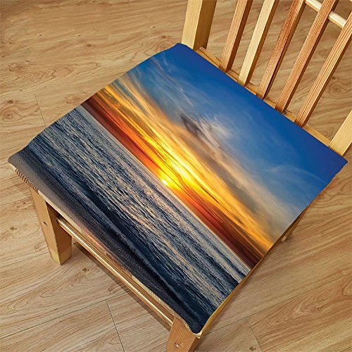 Nalahome Set of 2 Waterproof Cozy Seat Protector Cushion Ocean Decor Sunset Over the Pacific Ocean From La Jolla California Sunlight Colored Sky Photo Print Orange Blue Printing Size - Jolla Sunglasses La