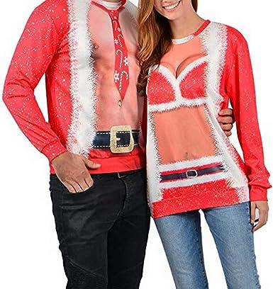 Vanornia Noël T Shirt Assorti De Couple Imprimé Fantastique Sweat Humour Noël à Manches Longues 3d Impression Pour Homme Et Femme Taille Grande Homme Xxxl Amazon Fr Vêtements Et Accessoires