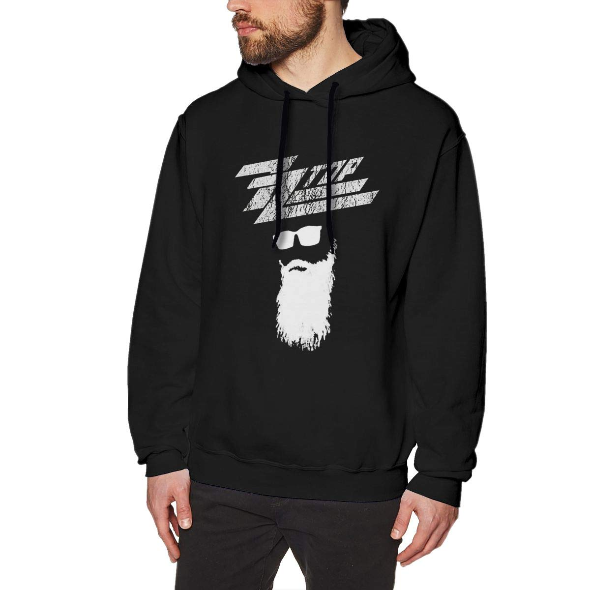 Whiteandnavy Cotton Mens ZZ Top Rock Band Logo Sweatshirts Black with Mens Hoodies
