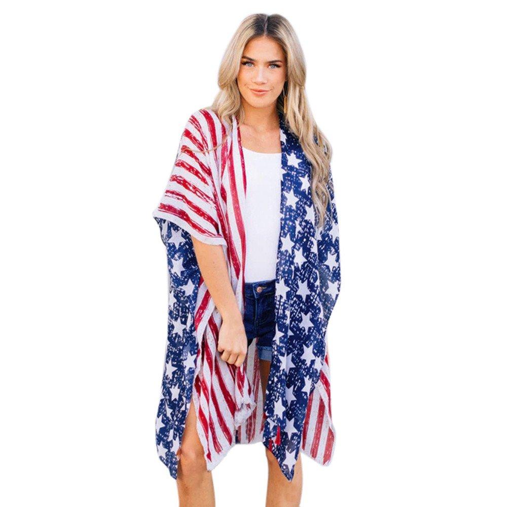 HHei_K Women Summer Novelty American Flag Print Loose Shawl Kimono Cardigan Beach Casual Top Cover Smock (L, Navy)