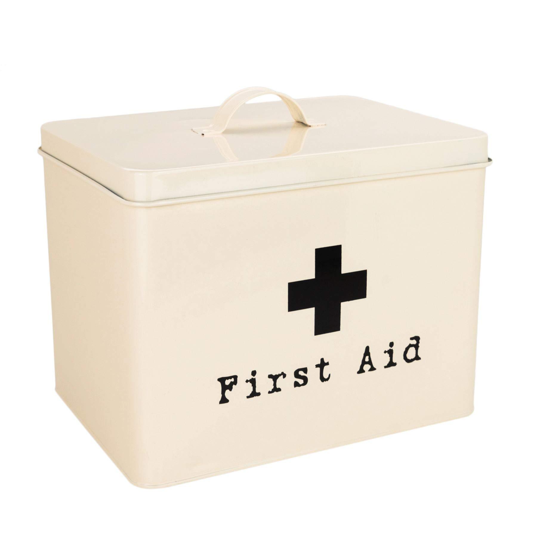 Harbour Housewares First Aid Medicine Storage Box in Vintage Metal - Cream by Harbour Housewares