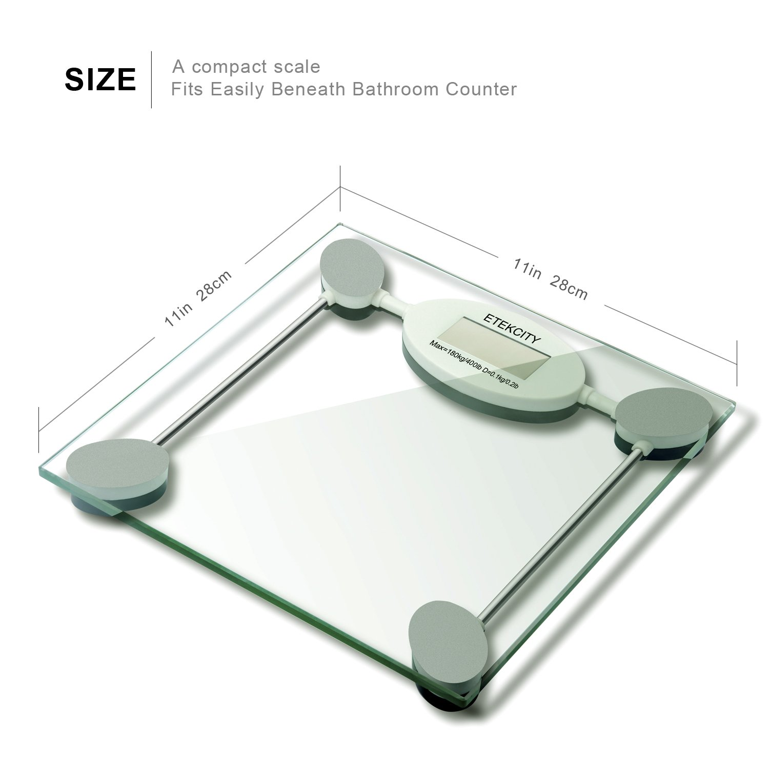Glass bathroom scales - Amazon Com Etekcity Digital Body Weight Scale With Step On Technology 400 Pounds Eb005 Health Personal Care