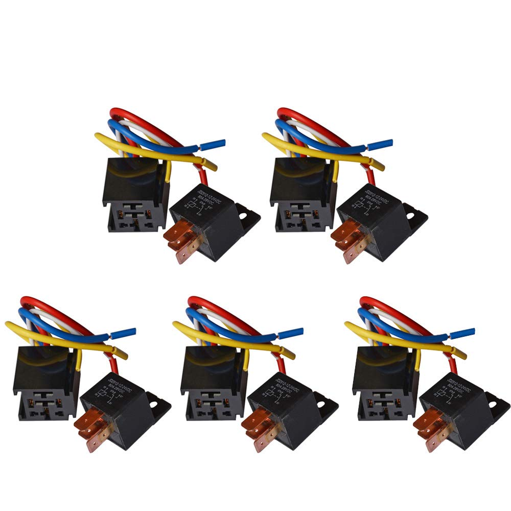 Ehdis/® 2 Paquetes Motor de cami/ón de autom/óvil Pesado De Servicio Pesado De 5 Clavijas de 80 A 24 V Encendido//Apagado Normalmente Abierto Conector de Enchufe de rel/é SPDT 5 alambres Automotriz