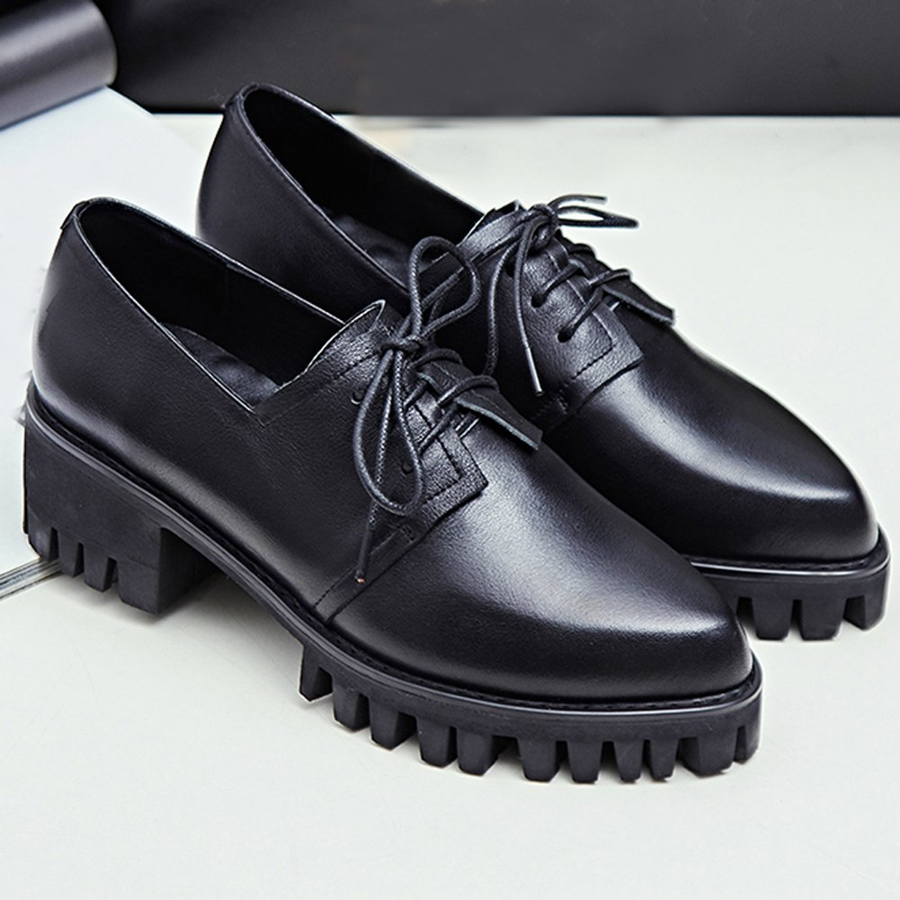 Amazon.com | MINIVOG Treaded Stacked Low Heel Womens Oxfords Shoes | Oxfords