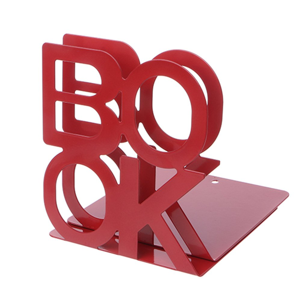 Nankod Alphabet Shaped Metal Bookends Iron Support Holder Desk Stands for Books