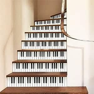 wei Inicio Escalera Decorativa Pegatinas, Teclado del Piano, Self Extraíble-Adhesivos Bricolaje Pegatinas: Amazon.es: Hogar