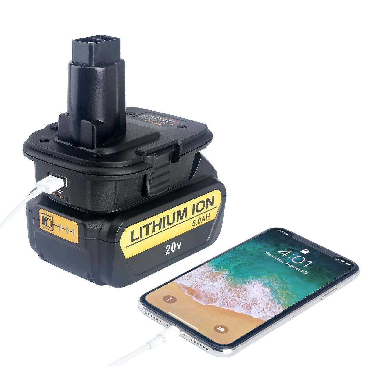 Lasica 20V Battery Adapter DCA1820 with USB port for Dewalt 18V Tools, Convert Milwaukee 18V Lithium Battery M18 DeWalt MAX 20Volt Lithium-Ion Battery DCB204 to DeWalt 18V NiCad NiMh Battery DC9096 by Lasica (Image #5)