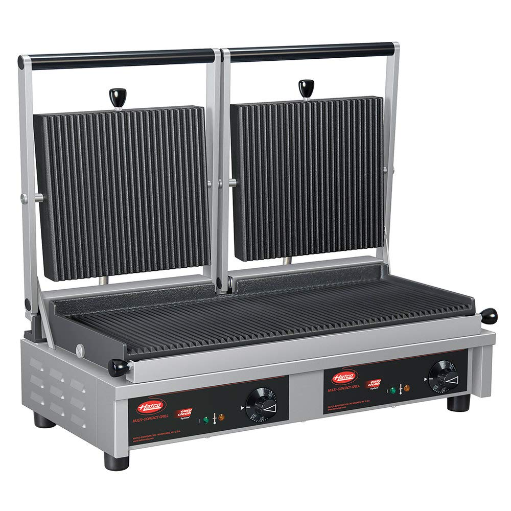 "B07SQVR378 TableTop King MCG20G Multi Contact Double Panini Sandwich Grill with Grooved Cast Iron Plates - 20"" x 10 1/4\"" Cooking Surface - 240V, 3760W 51iJ8j9TCrL._SL1000_"