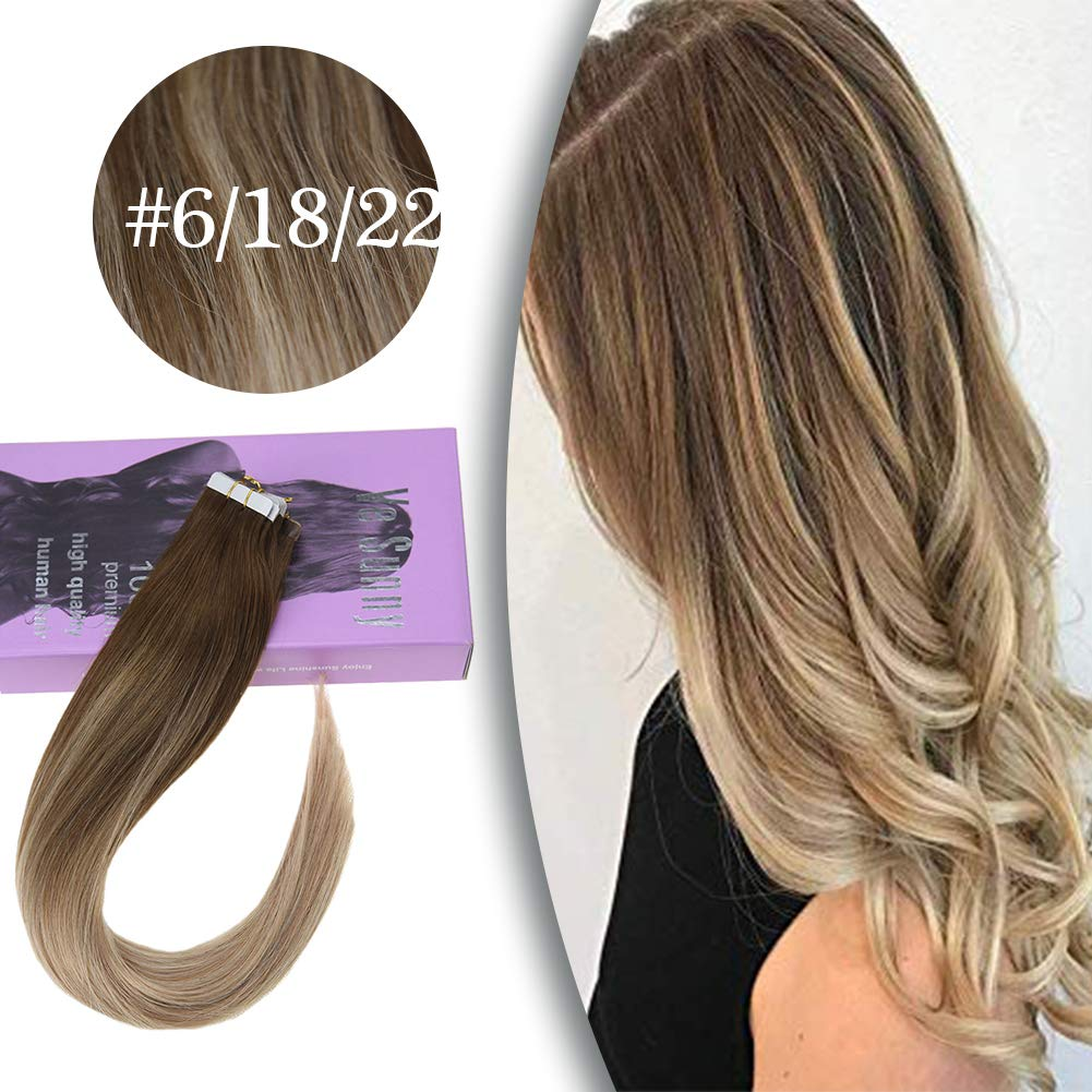 VeSunny Adhesive Tape in Extensions Brown Highlighted #18 Mix #22 Blonde Balayage Tape in Hair Extensions Natural Human Hair 20Pcs/50G 22inch by Ve Sunny