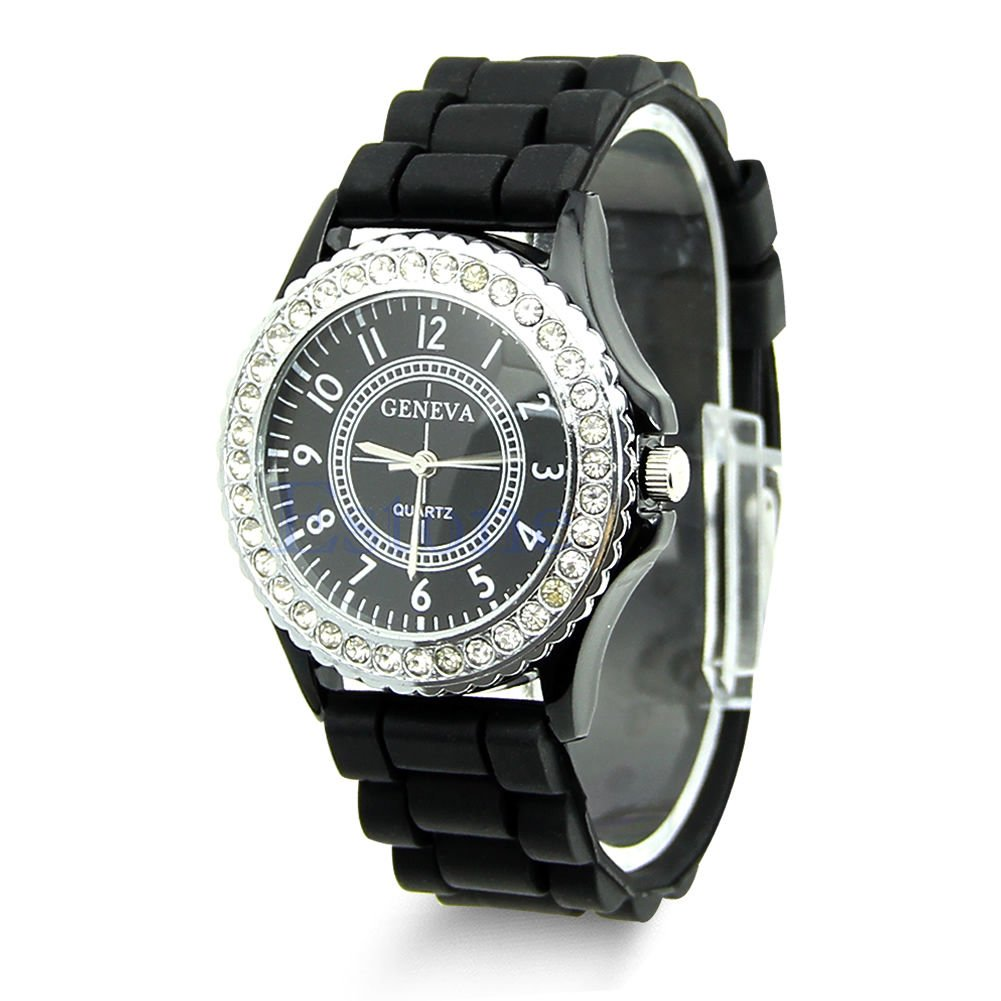 Hot Sell Geneva Silicone Women Bling Crystal Rhinestone Bezel Rubber Jelly Watch Black