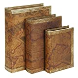 Old World Atlas Map Faux Leather Book Box Set of 3