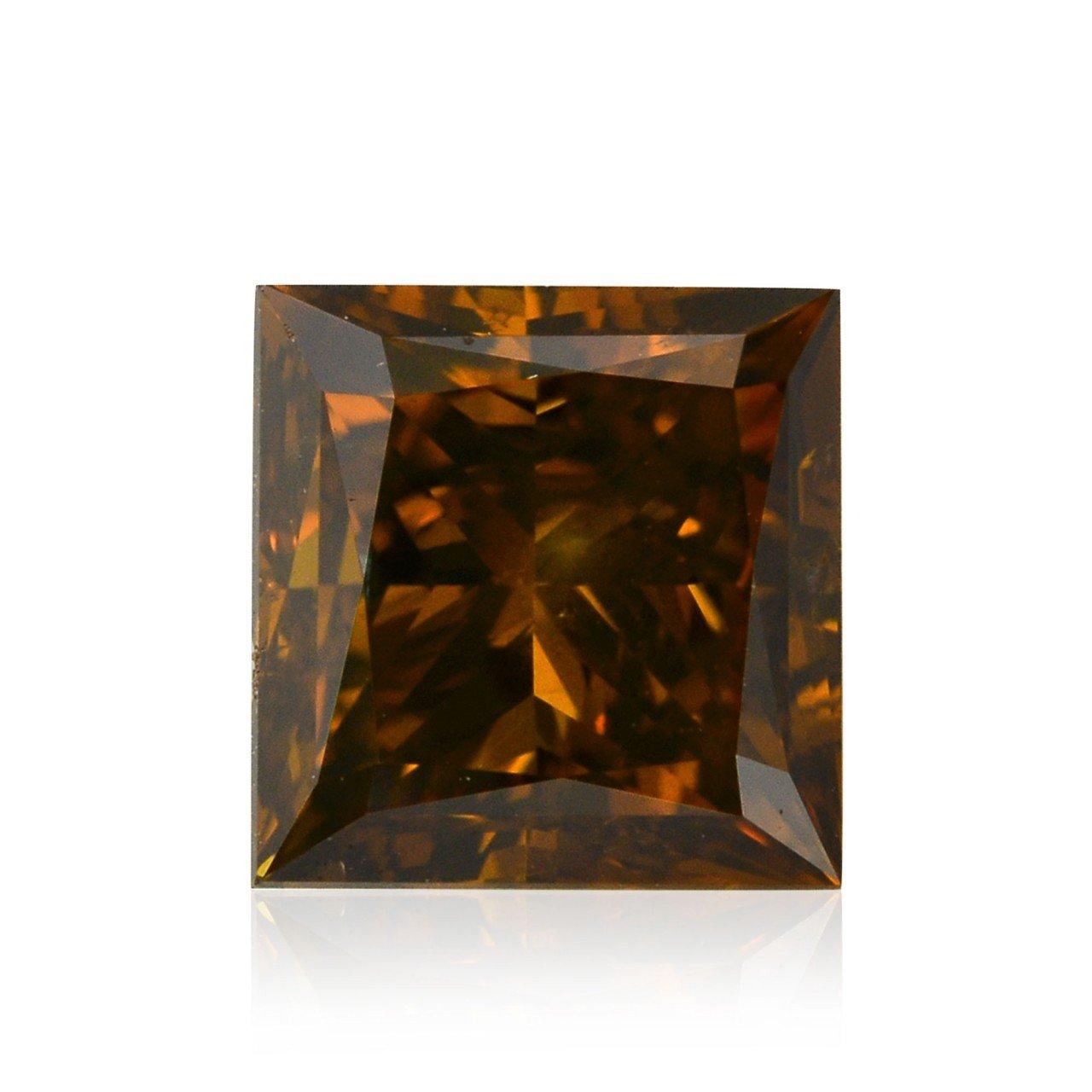 1.01Cts Fancy Deep Orange Brown Loose Diamond Natural Color Princess Shape GIA