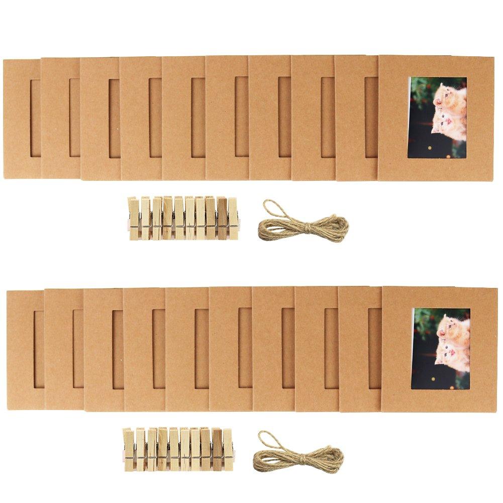 Cpano 20pcs Wall Decor Paper Hanging Photo Film Frame Fujifilm Instax Mini 8 7s 8+ 9 25 26 50s 90 Polaroid Films & Name Card (Brown)