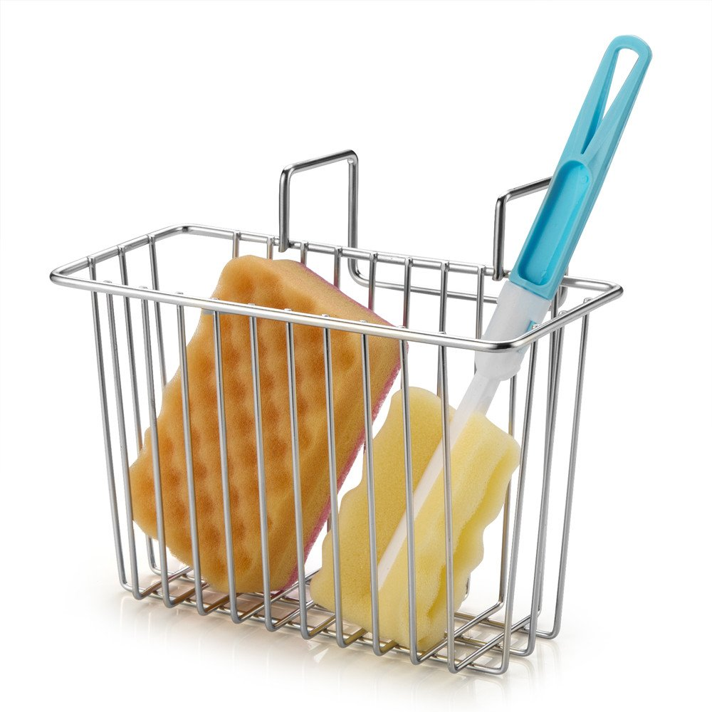 SANNO Kitchen Sink Sponge Holder,In Sink Caddy Utensil Holder Brush Soap Dish washing Organizer Tray Liquid Drainer Rack - Stainless Steel