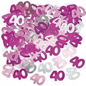 Shatchi - 5 paquetes de confeti rosa para 40 cumpleaños ...