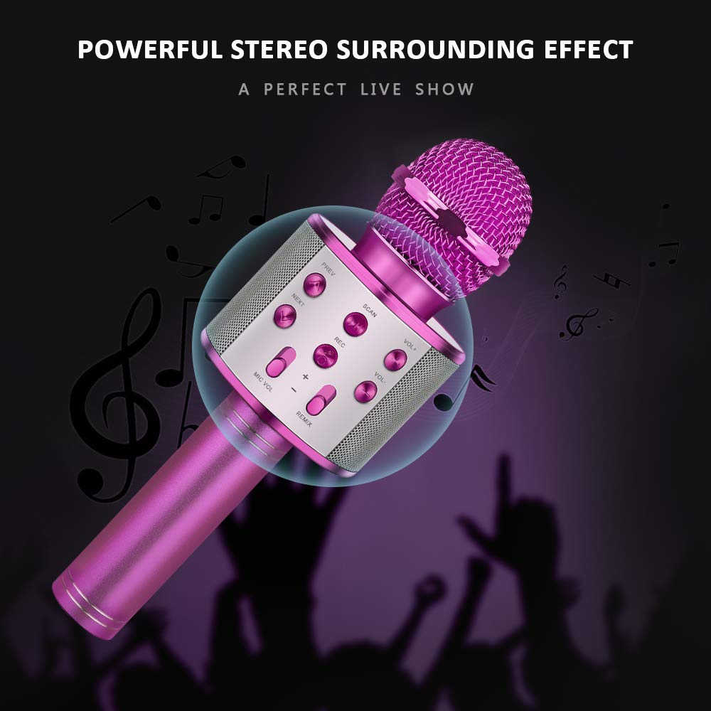 LET'S GO! Popular Toys for 4-12 Year Old Girls, DIMY Wireless Karaoke Microphone with Bluetooth Speaker Karaoke Microphone for Kids Top for Girls Age 4-12 Games Girls Age 4-12 Purple DMHK20 by LET'S GO! (Image #5)