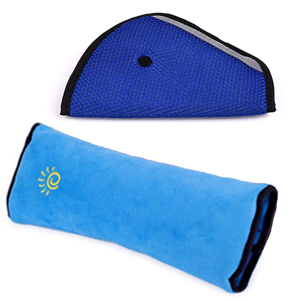 Blue white stars/♥/♥/♥ Seat belt covers pads for Maxi-Cosi or stroller