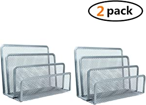 Kingbuy 2Pack Desk Mail Organizer wishacc Small File Holders Letter Organizer Metal Mesh Filing/Document/Folders/Paper Organizer for Desktop (Silvery)