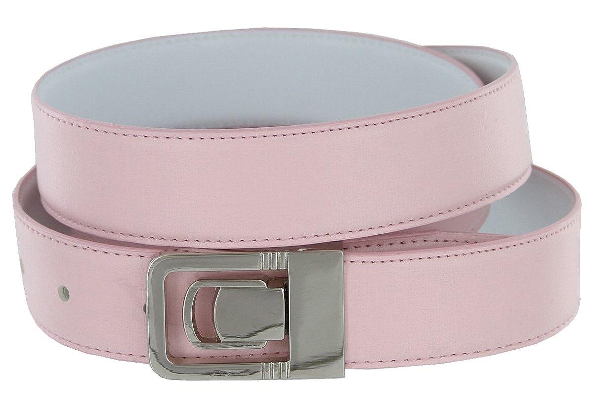 Hagora Men 30 mm Wide Pink PU Leather Stitched Edges Nickel Channel Buckle Belt