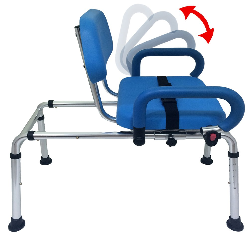 Carousel Sliding Transfer Bench with Swivel Seat. Premium PADDED Bath and Shower Chair with Pivoting Arms. Space Saving Design. NEW for 2017. by Platinum Health (Image #2)