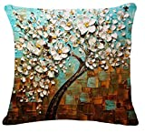 Oil Painting Black Large Tree and Flower Birds Cotton Linen Throw Pillow Case Cushion Cover Home Sofa Decorative 18 X 18 Inch (white leaves)
