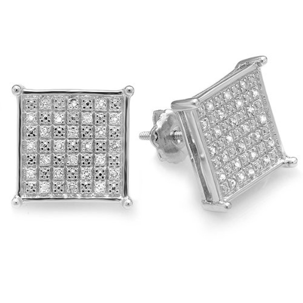 Dazzlingrock Collection 0.33 Carat (ctw) Diamond Square Shape Mens Ladies Hip Hop 12 mm Stud Earrings 1/3 CT, Sterling Silver