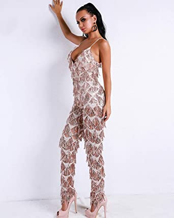 86569b25f77 Amazon.com  Miss ord Sexy V Neck Harness Sequin Overalls Backless Tassel  Rompers Elegant Jumpsuit  Clothing