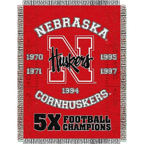 - The Northwest Company Officially Licensed NCAA Nebraska Cornhuskers Commemorative Woven Tapestry Throw Blanket, 48