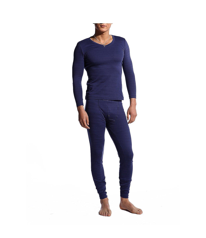 Godsen Men's Cotton Thermal Underwear Set Top & Bottom 8521601-BL