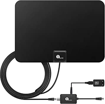 Activo 28dB Antena interior para DVB-T DTT VHF/UHF/FM, HDTV con amplificador desmontable 1byone Antena con soporte de antena, 80 KM de rango , 3 ...